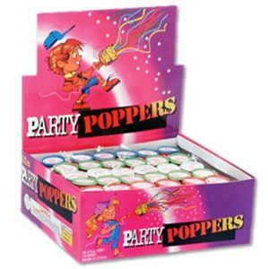 Celebration Champagne Party Poppers Bulk Assorted (144pcs) by Joker. $8.97. Novelties Item - In Conformance with APA Standard 87-1. 2 Full Display Cases for a total of 144 Poppers. Colorful Champagne Party Poppers & Streamer Bursts. Novelty - Trick - Noise Makers. Registered Party Popper in the State of California 1071 1070. Great fun for most everyone!  Don't point toward a person, then pull the cord and celebrate with a pop and streamers!  Use only under Adult supervision.