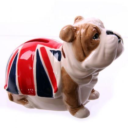Pokladnička Bulldog s vlajkou Union Jack #pokladnicka #keramika #bulldog #moneybox #UnionJack #ceramics #giftware