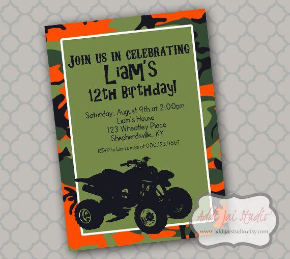 ATV 4 Wheeler Birthday Printable 5x7 4x6 Or 4x55 Party Invitation