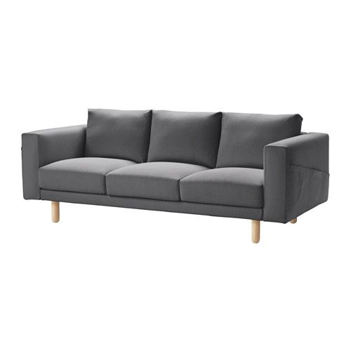 IKEA - NORSBORG, Sofa, Finnsta dark gray, birch, , Big or small, colorful or neutral. The sofa comes in many shapes, styles, and sizes so that you can easily find one that suits you and your family.A soft and comfortable sofa filled with high resilience foam that supports your body and quickly regains its shape when you stand up.Slightly higher armrests make it extra comfortable to curl up in the corner of the sofa.The cover is easy to keep clean as it is removable and can be machine…