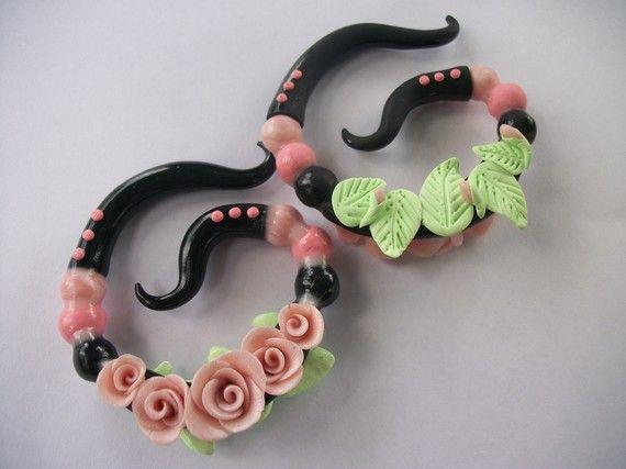 Rose Garden Polymer Clay Ear Gauges