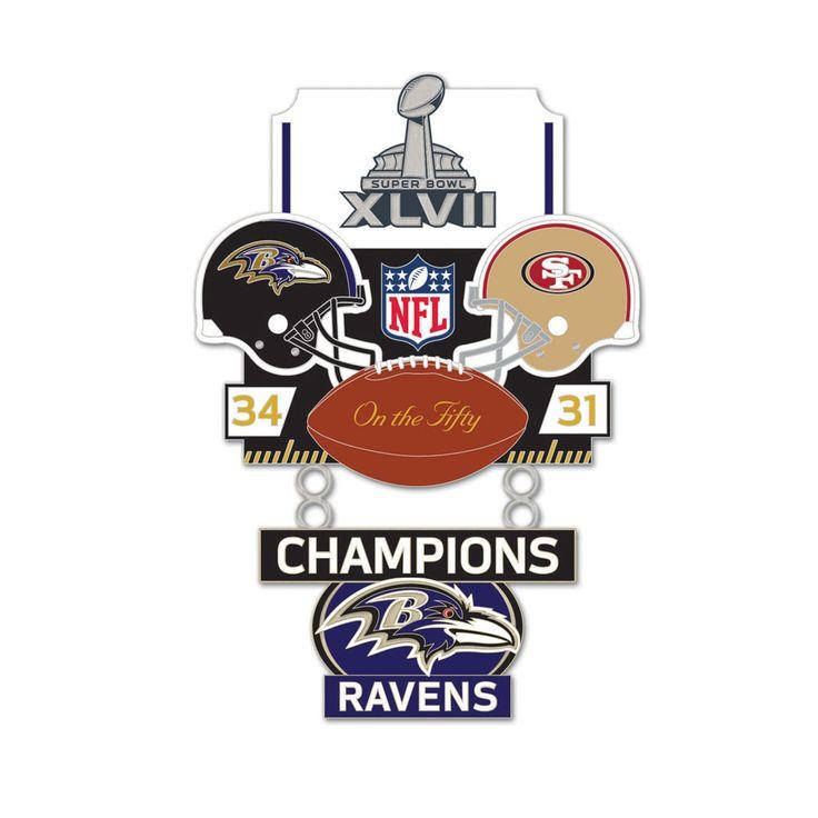 Super Bowl XLVII (47) Ravens vs. 49ers Champion Lapel Pin - Sunset Key Chains