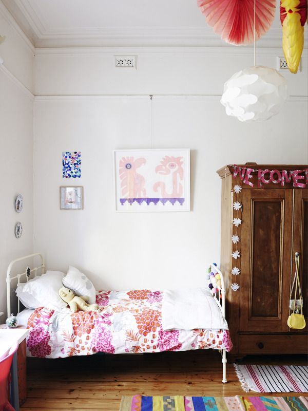 Beautiful colorful girls bedroom in the home of Sarah Murphy, Matthew McCaughey and Family seen on The Design Files