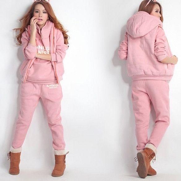 New Fashion Women Autumn Stylish Hoodies Suit Thickening Sports Hoodie Hoody + Pant + Vest 3pcs