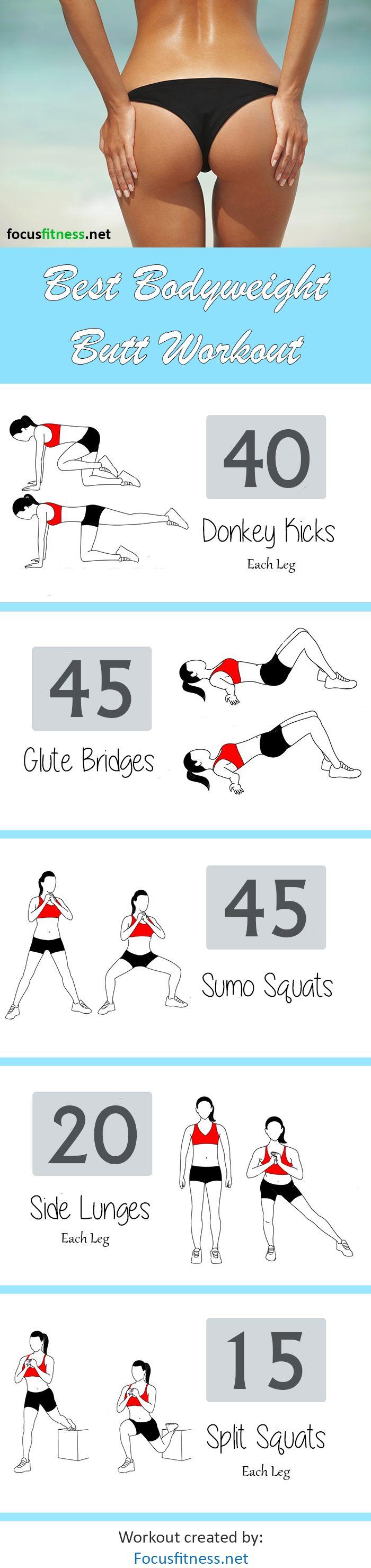 Best Bodyweight Butt Workout http://focusfitness.net/best-bodyweight-butt-workout-beginner-advanced/