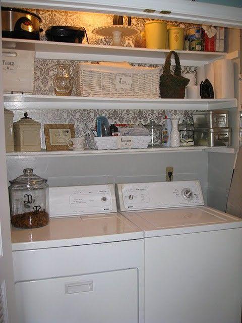 nice: Laundryrooms, Small Laundry, Closets, Wallpaper, Room Ideas, Laundry Area, Laundry Rooms, Laundry Closet, House Idea