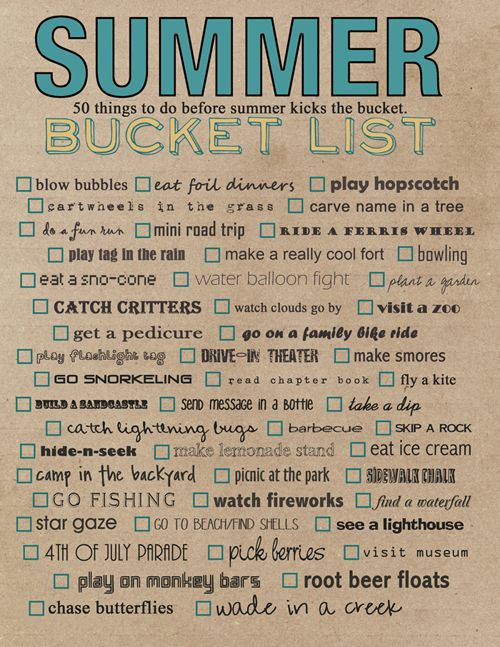 Join the Summer Daze Fun Photo Party and download the free printable bucket list!