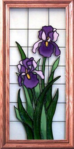 Hand-Painted Floral Stained Glass Window - 9 x 20, Purple Iris by Wisconsinmade. $55.50. Medium oak frame, finished dimensions 11 1/2 x 22 1/2 in.. Hand-painted. Quality craftsmanship by Wisconsin artisans. Purple Iris or Sunflower design. Allow up to one week for processing. The beauty of stained glass is captured in these hand-painted images by Wisconsin artisans. Silver Creek Industries offers these stained glass creations in your choice of two beautiful flo...