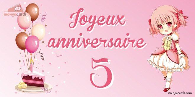 carte anniversaire fille 5 ans Carte D'anniversaire Animée Fille Inspirational Carte Joyeux