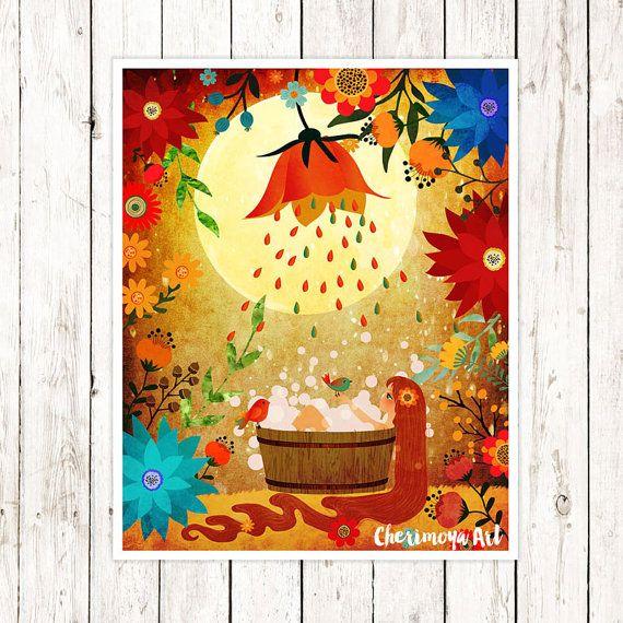 Girl Wall Art Woodland Nursery Print Girl illustration Art Girl Nursery Decor Prints for girls rooms Kids Room Decor Wall Art Gift for Her