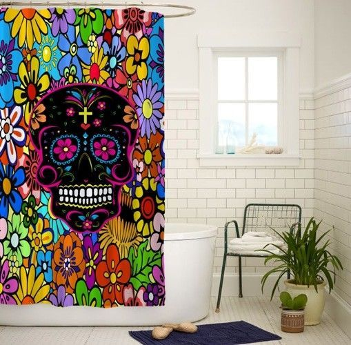 New Sugar Skull Rose Custom Shower Curtain Size 60x72 and 66x72 #Unbranded