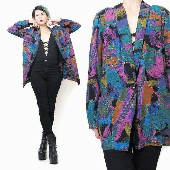 80s Colorful Blazer Abstract Print Blazer Slouchy Boyfriend  Blazer Art Print Artsy Blazer Teal Purple Multicolor Blazer Womens Jacket (S/M) Etsy