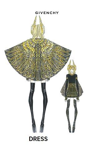 Madonna's Givenchy Couture look for the half-time performance at the 2012 American Superbowl: Black mini dress in silk cady, worn with leopard print short cape in silk charmeuse hand-embroidered with gold metal cut out pieces, studs, crystals, sequins and paillettes, worn with a black python hand-studded and hand-embroidered belt with removable matching flaps.