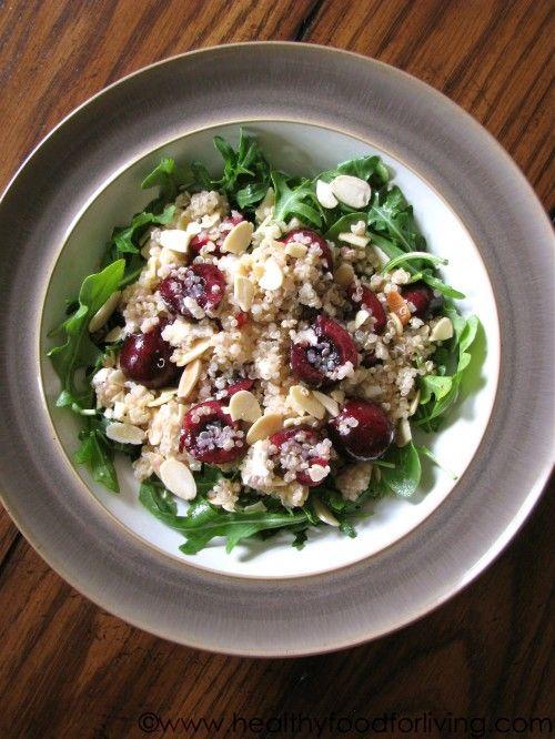 Cherry, Arugula, & Quinoa Salad with Goat Cheese and AlmondsAlmond, Food, Quinoa Arugula, Quinoa Salad, Favorite Recipe, Arugula Salad, Goats Cheese, Cherries Quinoa, Goat Cheese