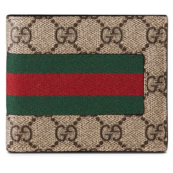 Gucci Leather Wallet ($385) ❤ liked on Polyvore featuring men's fashion, men's bags, men's wallets, beige, gucci mens wallet, mens leather bifold wallet and mens leather wallets