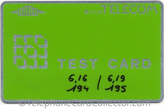 BTT001 - Test Card 1A - handwritten voltages - Control number: 497 306