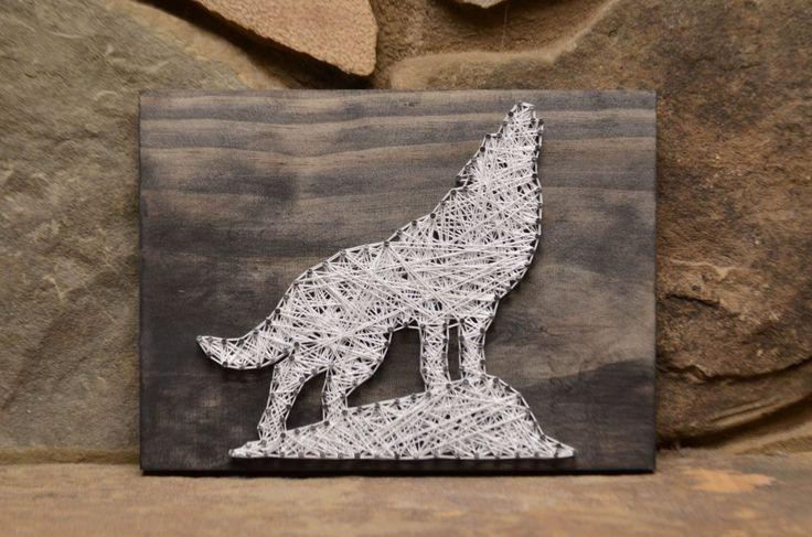 Custom Wood Wildlife Wolf String Art Home Decor by hwstringart