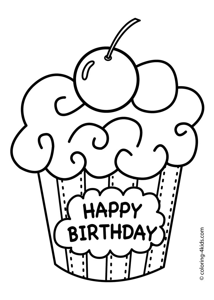 birthday cupcake with cherry coloring pages for kids printable birthdays coloring pages for kids