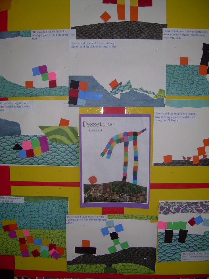 "Leo Lionni ""Pezzettino"" art using paper squares of various color and scrap book paper-Kindergarten"