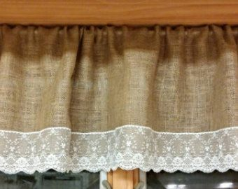 Burlap and lace valence curtain window treatment | Etsy