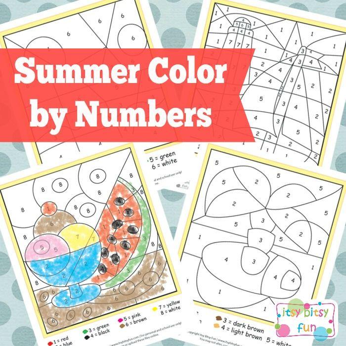 Free Printable Summer Color by Numbers Worksheets