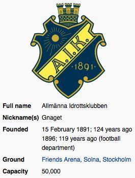 AIK Fotboll ~ Stockholm ~ Sweden