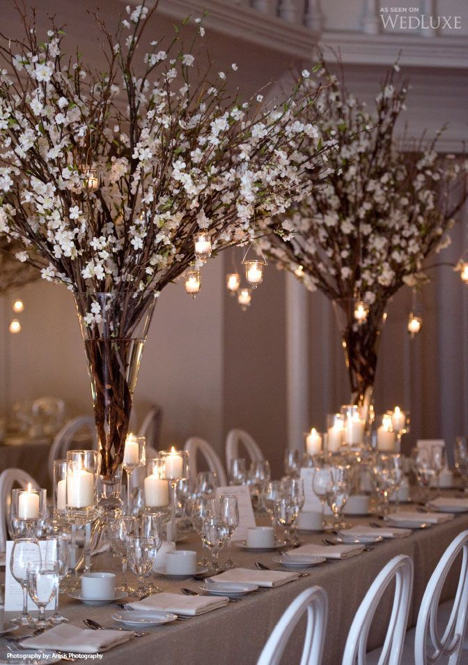 Tall Branches and Orchid Centerpeices with hanging