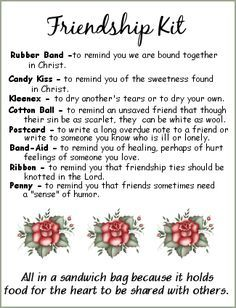 Friendship Kit - love this idea for women's ministry ...