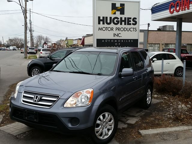 2006 Honda CR-V EX-L Wagon. 4X4. All power options, aluminum wheels, heated mirrors, privacy glass, moonroof w/tilt glass  & sunshade, heated front bucket seats, leather interior, tow hitch, A/C, Cassette Player, CD Player/Changer, leather wrapped steering wheel, outside temp display, pass-thru rear bench seat and more. Call Shawn at Hughes Motor Products 416-252-1100