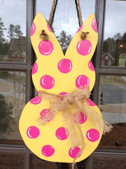 Easter Bunny Door Hanger by KnockinOnWood on Etsy