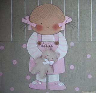 Cuadro infantil personalizado niña osito para Laia