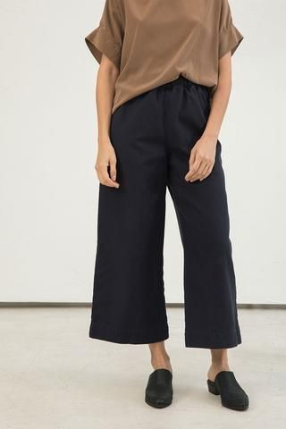 Florence Pant in Cotton Canvas Navy