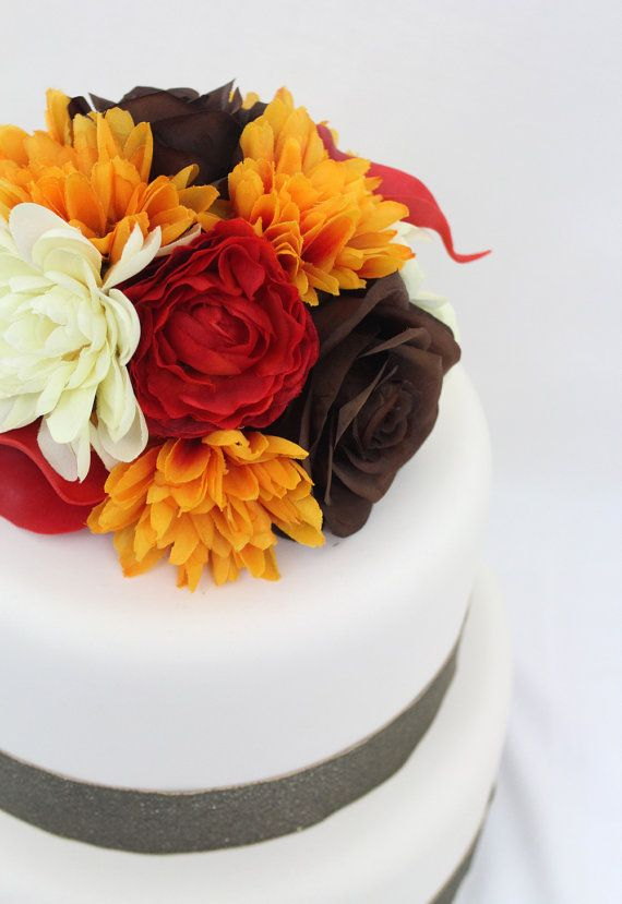 silk flowers for wedding cake toppers wedding cake topper fall yellow brown silk flower 19838