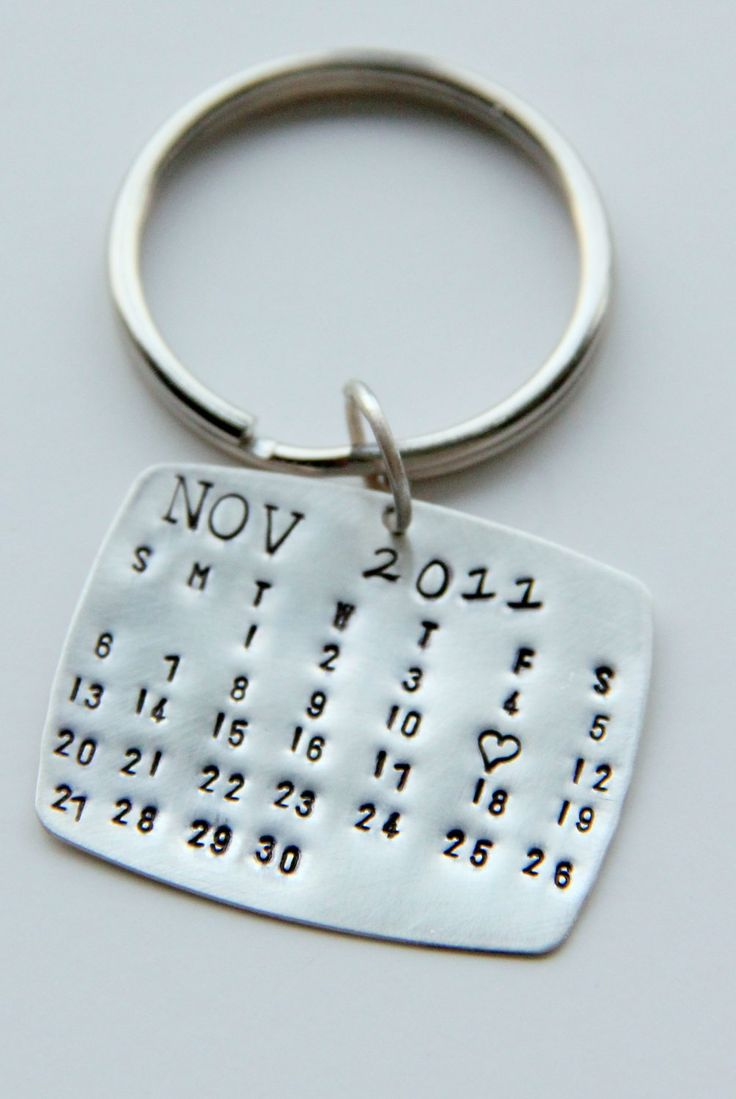 Valentines Calendar Keychain Silver, Calendar Key Chain, Valentines Gift For Him, Wedding Favors, Save The Date, Anniversary, wedding Men. $38.00, via Etsy.