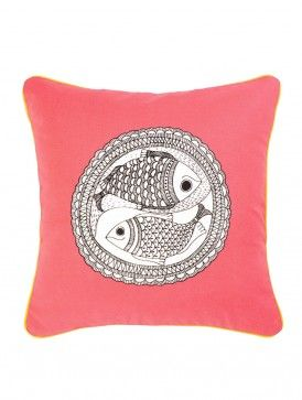 Pink Fish Printed Cushion Cover 16in X 16in