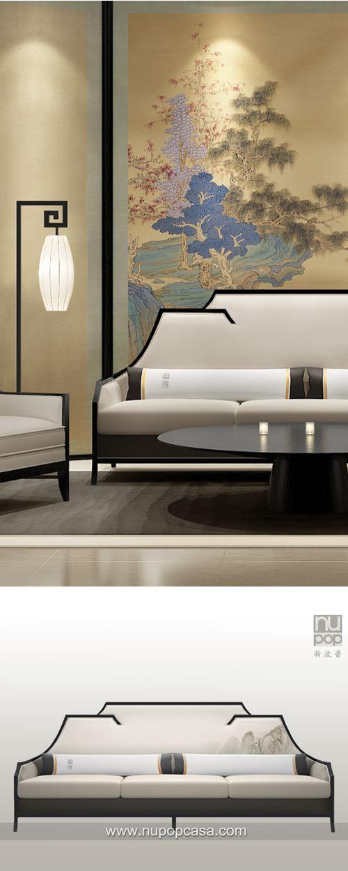 新中式家具 - 斜檐概念沙发组 Concept from Chinese traditional fly loof top. Designed by Tommy Chen and NupopCASA which speciallized in modern chinese sytle furniture and textile.