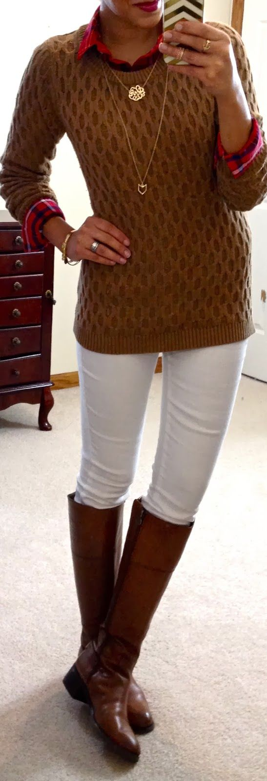 caramel, white, & plaid, I really like the caramel color with plaid and the longer necklace, I have this sweater and similar boots