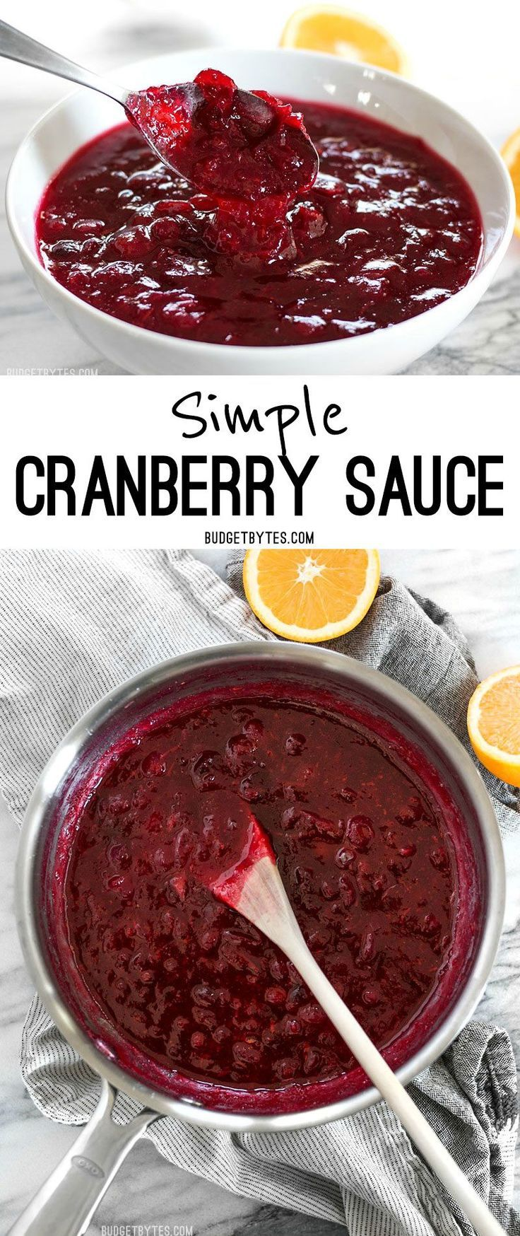 This simple cranberry sauce only requires three ingredients but has enough flavor to add excitement to your holiday meal. @budgetbytes