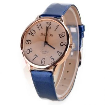 GE señora Women Cuero sintético cuarzo de la correa del reloj del deporte (azul)