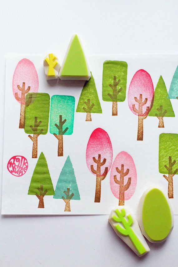 Tree rubber stamps | woodlan hand carved stamps | triangle rectangle oval | diy + fabric printing