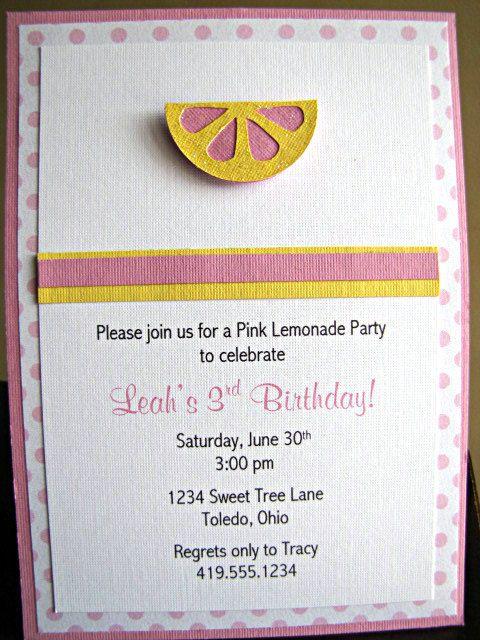 Pink Lemonade Party Invitation. $2.50, via Etsy.