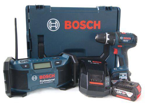 Bosch 0601429902 Perceuse-visseuse sans fil GSR 18 V-LI + radio de chantier GML + 2 batteries 4 Ah + L-Boxx