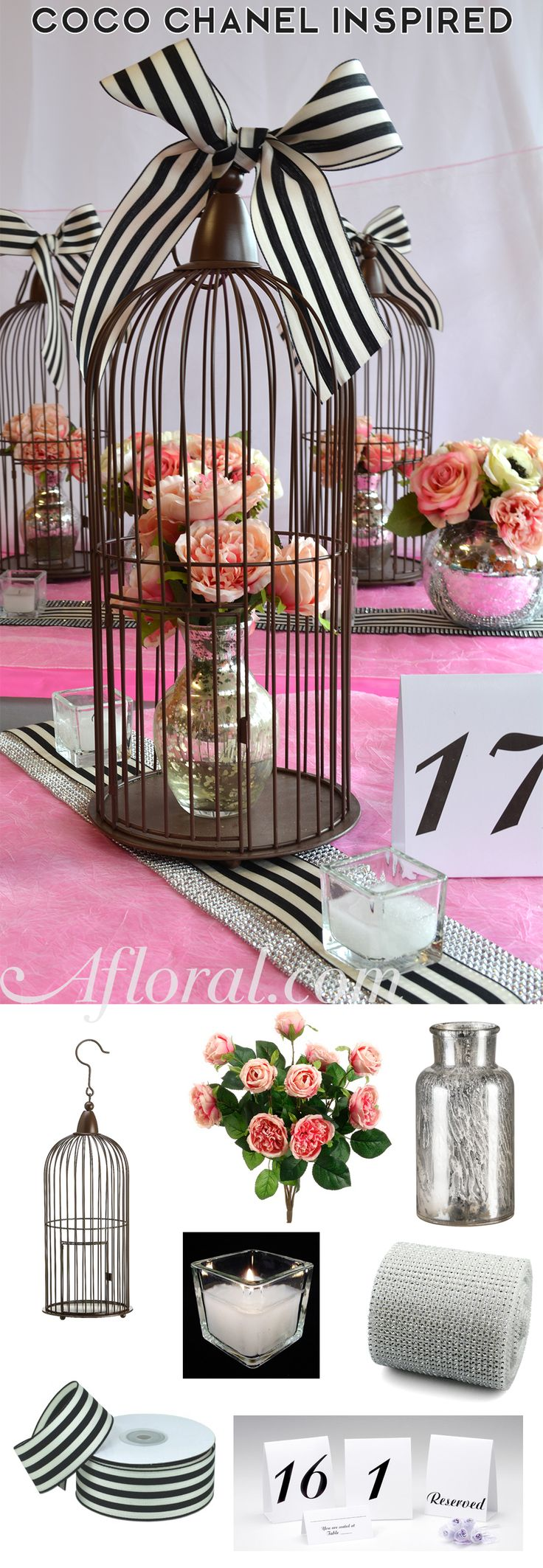 Wedding Decorations from Afloral.com. DIY this Black, White and Pink weddding decor.  Coco Chanel Inspired. #weddingdecorations