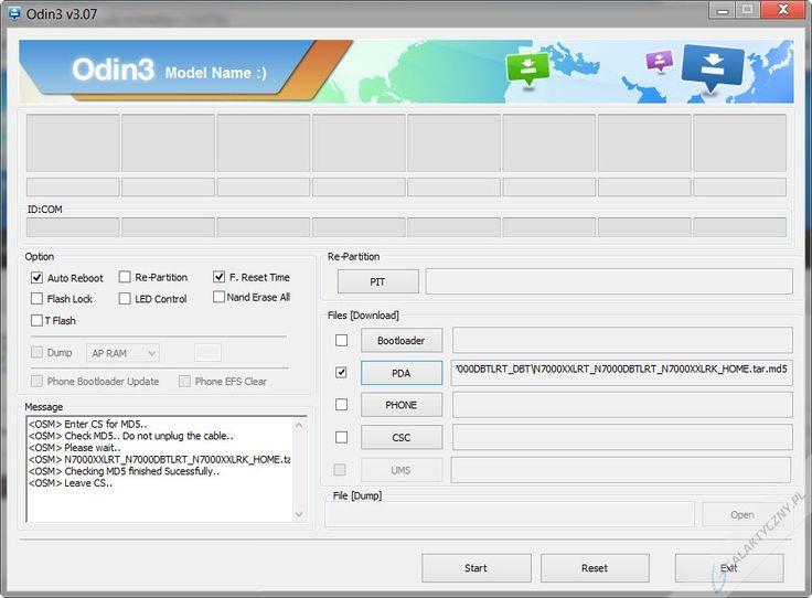 Program Odin3 - wgrywanie oprogramowania jednoplikowego [źródło: galaktyczny.pl]