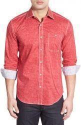 Bugatchi Men's Classic Fit Crosshatch Print Sport Shirt in ruby