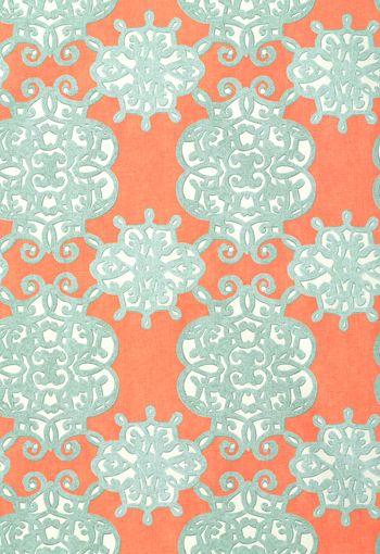 Thibaut Shangri-La - Jakarta - Fabric - Coral and Turquoise
