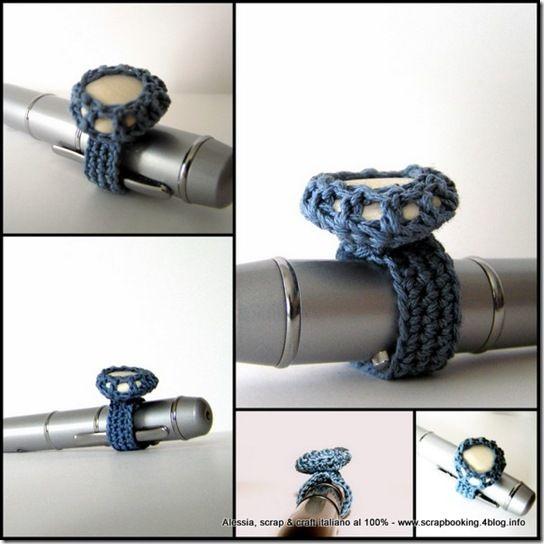 anello a crochet con pietra incastonata