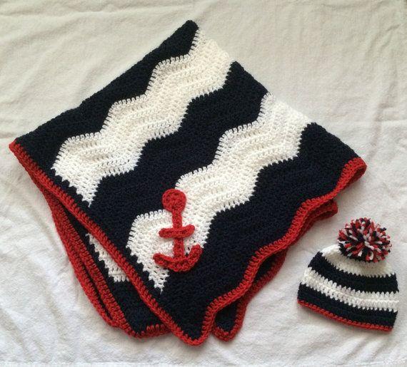Crocheted Baby Blanket Chevron Baby Afghan Navy by YarnAllOver