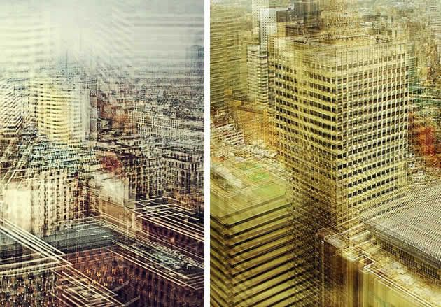 Stephanie Jung creates stunning urban landscapes, overlaying near-identical city scenes that have been taken from slightly different angles, at different transparencies and colour intensities. The repeated forms (buildings / vehicles / street signs) suggest echoed memories, vibrations of life; the ebb and flow of time.