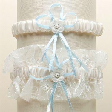 Vintage Wedding Garter Set with Floral Embroidered Tulle - Ivory with Blue G018-BL-I